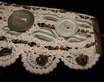 "Handmade Vintage Lace Bracelet with Buttons, Ribbon and Chains  ""Sage and Snow"""