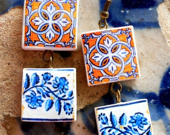 Portugal Azulejo Tile Replica Double Earrings from BARCELOS Gold with Blue Border (see actual Facade photos) WATERPROOF and REVERSIBLE 398