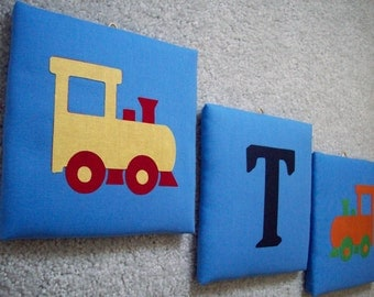 Train burlap frame insert for 8 x 10 wall by 2perfectiondecor for Train themed fabric