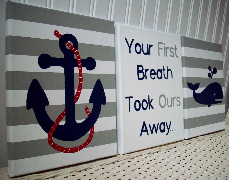 Blue Anchor Wall Decor : Nautical nursery wall decor whale anchor navy canvas paintings