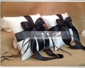 Romantic Satin Ring Bearer Pillow Set of 2...You Choose the Colors..shown in white/black