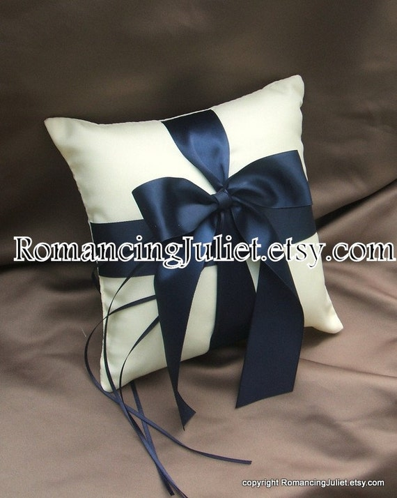 Romantic Satin Ring Bearer Pillow...You Choose the Colors...Buy One Get One Half Off...shown in ivory/navy blue