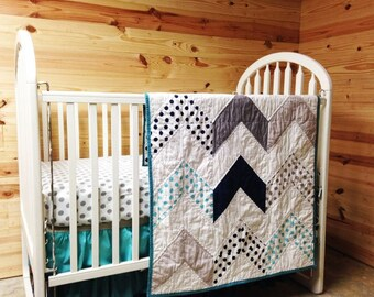 Crib Bedding, Follow Your Arrow Quilt and Ombre 3 Tier Skirt, Swagger, READY to SHIP, Aqua Navy and Gray