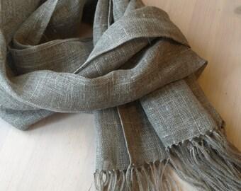 """Linen Scarf Natural Grey  Burlap Gauze Wrap 16.7""""x75"""""""