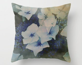 Hydrangea pillow, photo throw pillow, powder blue pillow flower cushion, country cottage home decor, living room pillow, floral pillow cover