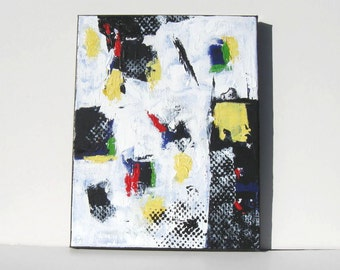 "White Abstract Acrylic Painting, Primary Colors, 11"" x 14"", Art on Canvas, Modern home decor, gift idea"