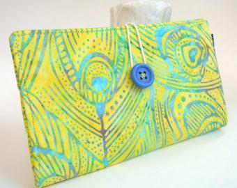 Island Tropical Tampon and Pad Holder in Citron Yellow Aqua Blue Batik Handmade Privacy Wallet - Batik Feathers