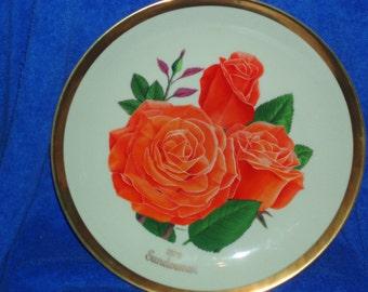 Vintage 1979 American Rose Society Plate - Sundowner - Grandflora - Ltd. Edition   (Item 278)
