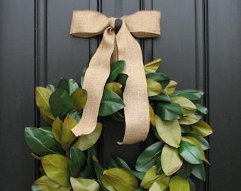 Magnolia Wreath, Magnolias, Magnolia Leaf Wreath, Burlap Ribbon, Burlap Wreath, Magnolia Wreath for Year Round
