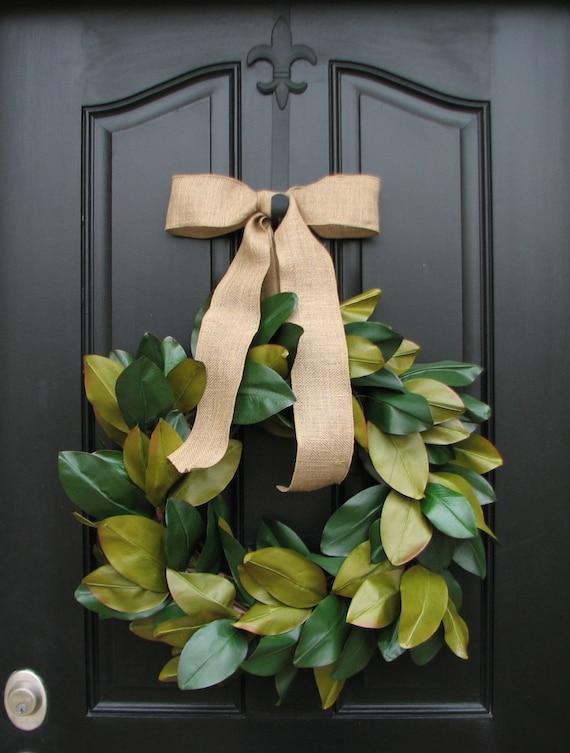Magnolia Wreath, Magnolia Wreath for Christmas, Magnolias, Magnolia Leaf Wreath, Burlap Ribbon, Burlap Wreath, Traditional Christmas Wreath