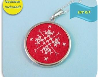 Snowflake Necklace - Cross Stitch DIY Kit, Create your own snowflake jewelry, winter necklace, snowfklake diy pattern, Embroidery DIY Kit