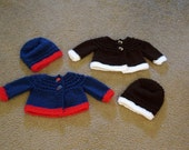 RESERVED FOR KADP1   Hand Knitted - Dark Blue and Red (Baseball) or Dark Brown and White (Foottball) Baby Cardigans
