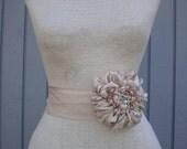 Bridal sash, wedding sash, wedding accessories, Bridal accessories, Wedding dress sash, Handmade flower, Bridal belt, sash belt, champagne
