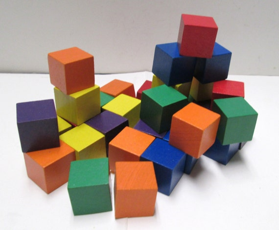 Colored wooden blocks counting cubes wood squares geometry