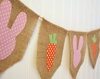 Shabby Easter Bunny and Carrot Banner Bunting by sweetcarolinehome