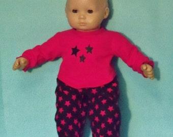 15 inch Doll Pink Stars Pajamas