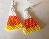 Beaded Candy Corn Earrings