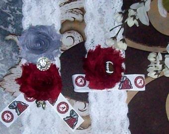 Wedding Garter,Alabama Crimson Tide Garter,University Garter,Bridal Garter,Lace Garter,College Garter,Football Garter