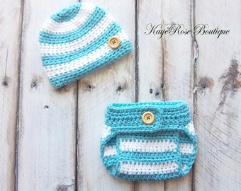 Newborn Baby Boy Hat and Diaper Cover Set Teal and White Stripes