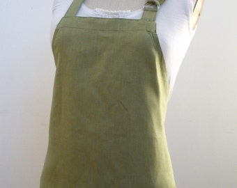 Sage Linen Apron With Red Fox Applique