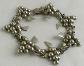 Antique Silver Grape Cluster Bracelet - Sterling Silver Hand Crafted Bracelet from Mexico