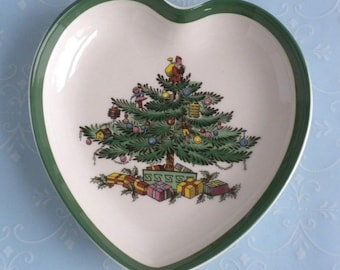 Vintage Spode Porcelain Christmas Tree Heart Tray Dish - Made in England