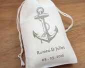 "Wedding Favor Bags 3.25"" x 5"" - Nautical Anchor- Set of 10 -  DIY personalized wedding favors,bachelor, bachelorette party favors"