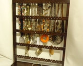Jewelry Stand, Table Top Earring Holder, Cocoa, Elegant Necklace Organizer, Oak Hardwood, Bracelet Rack, You Choose Base Style & Stain Color