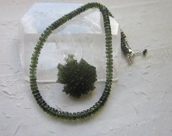 Faceted Moldavite Necklace for Transformation