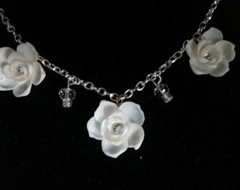 Love CHARMS:  Seashell Flower Chain Necklace with Swaroski Crystals & Heart Charm