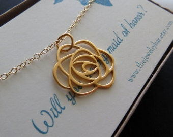 maid of honor gift, rose pendant necklace, matron of honor jewelry, bridesmaid, flower, wedding day