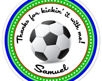 Custom Soccer Birthday Labels, Boy's Soccer Stickers, Soccer Stickers - Personalized for YOU