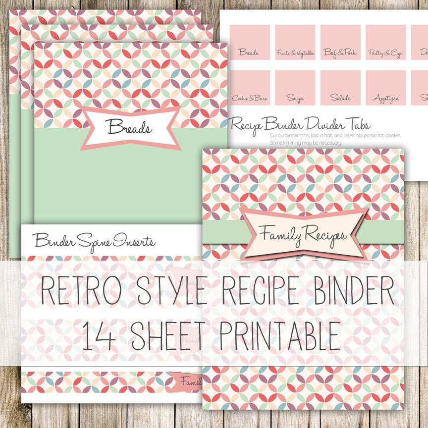 Retro Style Recipe Binder Kit 14 Printable Pages