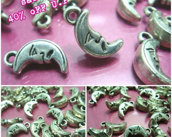 sales -40% / J104MZ / 60Pc / 300Pc / 16 x 8 x 5 mm - Antique Silver Metalized Plastic Moon Face Charm Beads