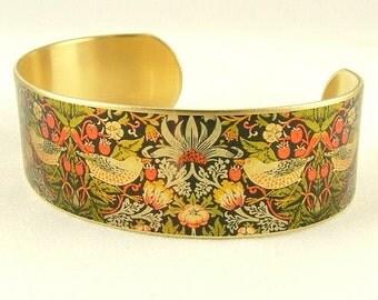 Woodland Jewelry - Bird - Forest Animals - Strawberry Thief - William Morris Brass Cuff Bracelet- Bird Jewelry - Rustic Gift