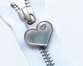 Metal Teeth 7 Inch Zippers with Special Heart Pull - YKK- 1 Piece- White 501