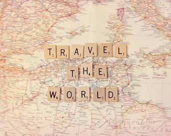 travel photography / world journey, map, wanderlust, adventure, scrabble tiles, letters, typography / travel the world / 8x10 fine art photo