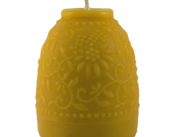 Floral Textured Organically Managed Beeswax Candle