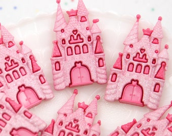 50mm Pink Fairy Tale Castle Glitter Resin Flatback Cabochons - 3 pc set