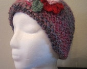 Lovely Stylish Regency Women's Crochet Hat Beanie With Beautiful Delicate   Flowers