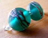 Lampwork Glass Beads, Handmade Lentil Beads, Teal Silvered Glass, 2pcs, 14mm, Destash