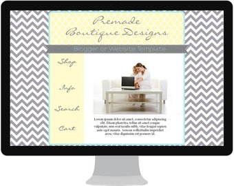 Yellow and Gray Chevron and Quatrefoil Budget Premade Website Template - Graphic Design - Web Design - 182044124