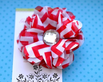 Chevron Chiffon Flower Hairclip in Red and White