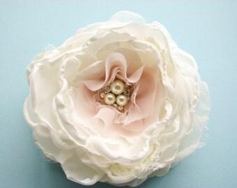 Bridal Flower hair clip or sash pin, Wedding silk hair flower, fabric flower, ivory, pale blush pink, rhinestones pearls lace rose peony