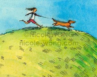ACEO Print -- Dog Walk