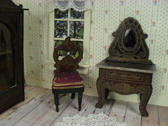 Antique German Biedermeier Dollhouse Furniture Mirrored