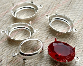 18x13 Oval Sterling Silver Prong Setting Open Back 1 Ring / 2 Ring -4pcs