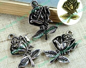 Rose Flower Charm Pendant Antique Silver Antique Brass - 6pcs