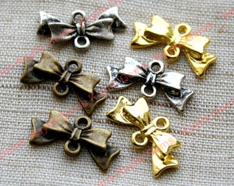 Butterfly Bow Connector Charms - Gold, Antique Silver, Antique Brass -10pcs