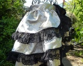 Burlesque Bustle skirt silver brocade with black lace